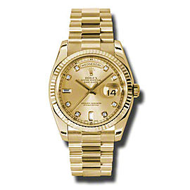 Rolex Day-Date President Yellow Gold Champagne Diamond Dial 36mm Watch