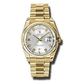 Rolex Day-Date President Yellow Gold Silver Diamond Dial 36mm Watch