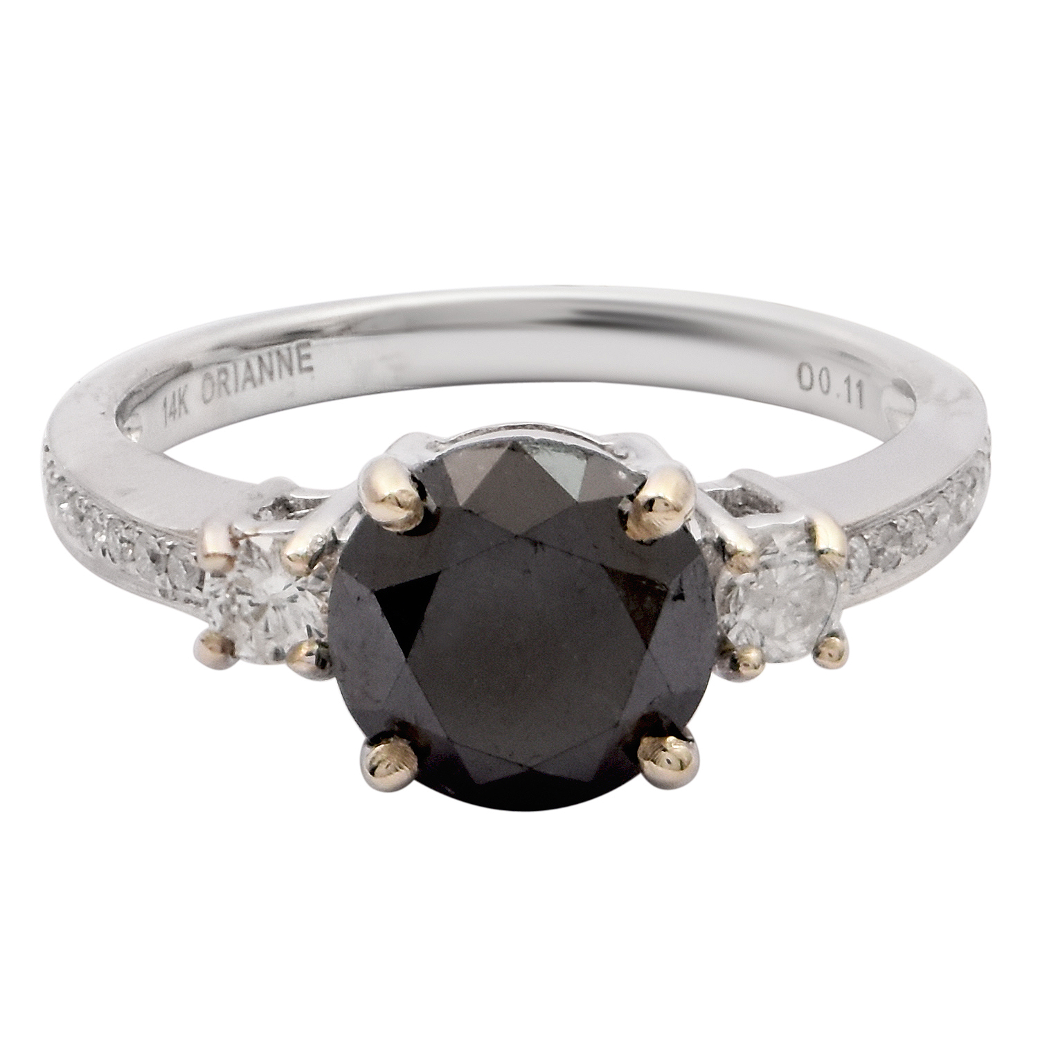 "Image of ""14Kt White Gold Black Diamond and White Diamond Ring"""