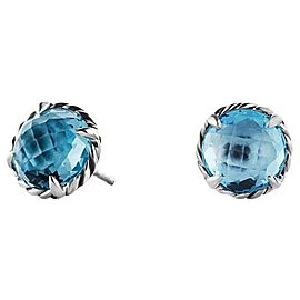 David Yurman Sterling Silver Chatelaine Blue Topaz Earrings