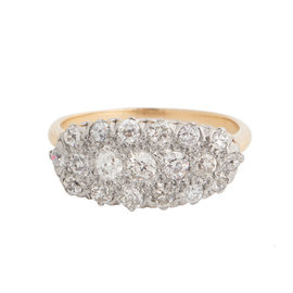 Yellow Gold and Platinum Cluster Diamonds Ring