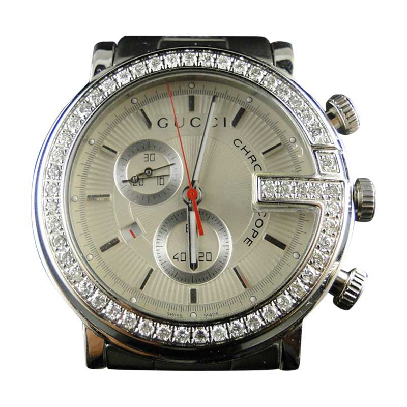 "Image of ""Gucci G Steel Pvd Ya 3 Ct Diamond Mens Watch"""