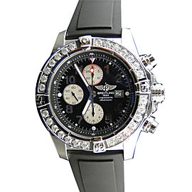 Breitling Super Avenger Aeromarine Rubber Diamond 48mm Mens Watch