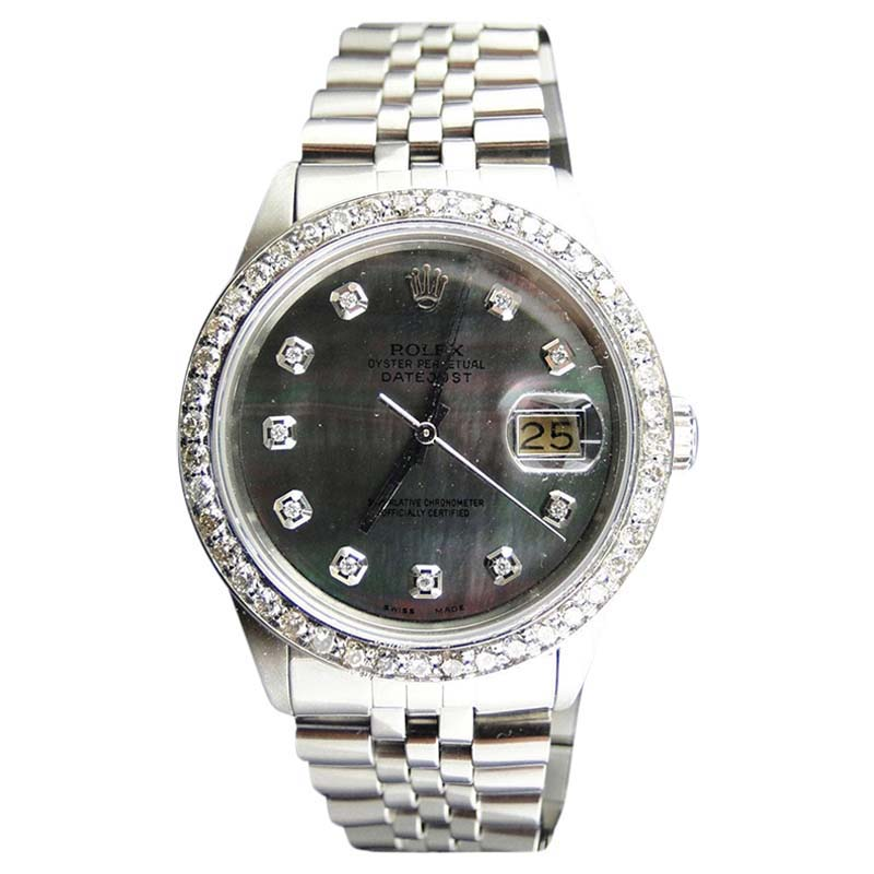 "Image of ""Rolex Stainless Steel 2.15Ct Diamond Black Dial Datejust Jubilee Mens"""