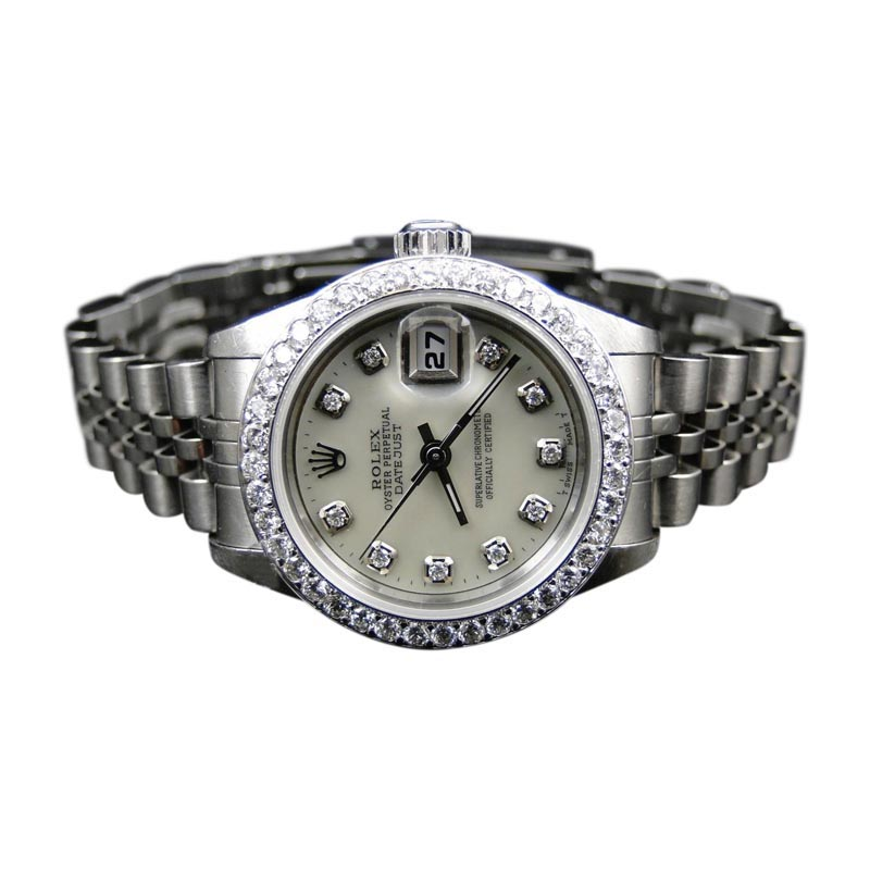 "Image of ""Rolex Oyster Date Just Stainless Steel Diamond Quick Set 2060 Womens"""