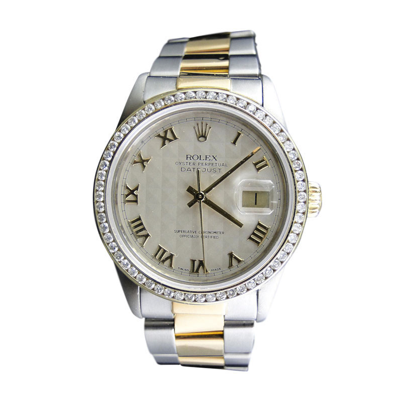 "Image of ""Rolex 2 Tone Datejust Oyster 18k/Steel Band 3 Ct Diamond Watch"""