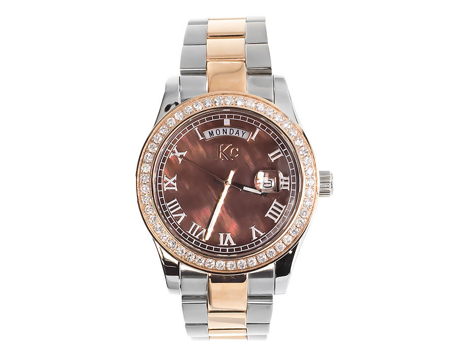 "Image of ""Techno Com KC Day Date Two Tone Stainless Steel 41mm Diamond Watch"""