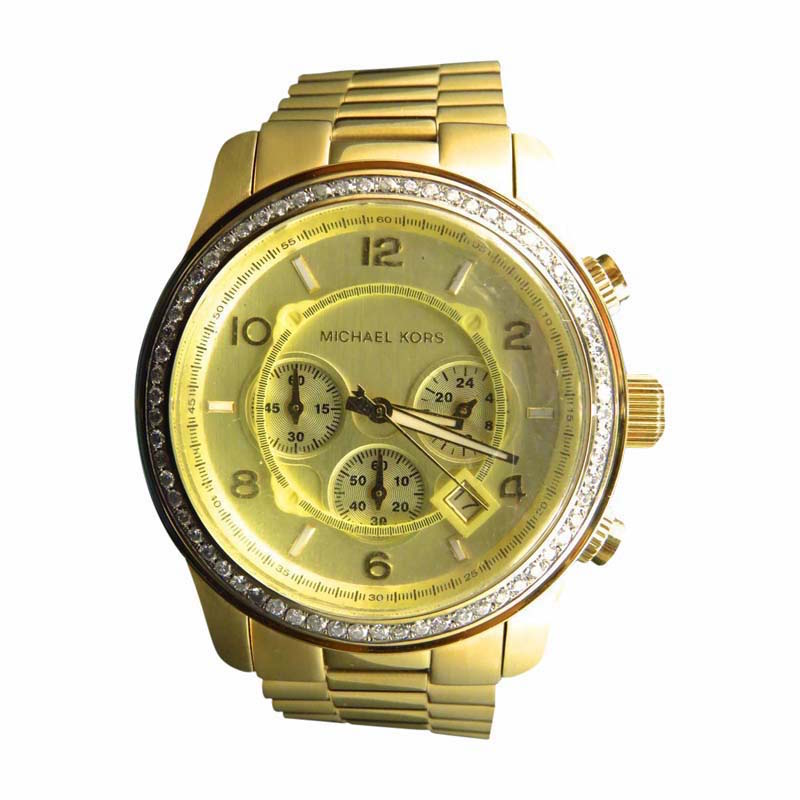 "Image of ""Micheal Kors Gold Stainless Steel with Custom Set Diamonds 2.0 ct 45"""