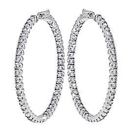 14K White Gold 6.25ct Diamond Hoop Earring