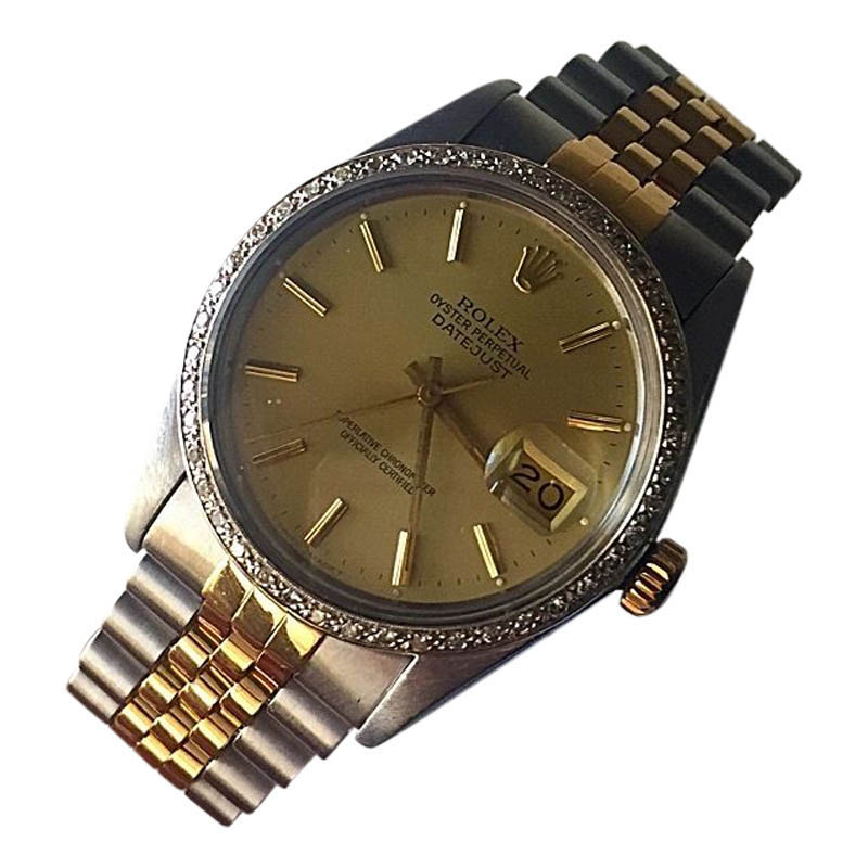 "Image of ""Rolex Datejust 16013 Stainless & 18K Gold Champagne Dial / Diamond"""