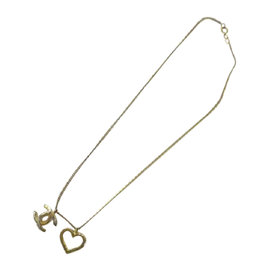Chanel Gold Tone Hardware CC Heart Charm Necklace