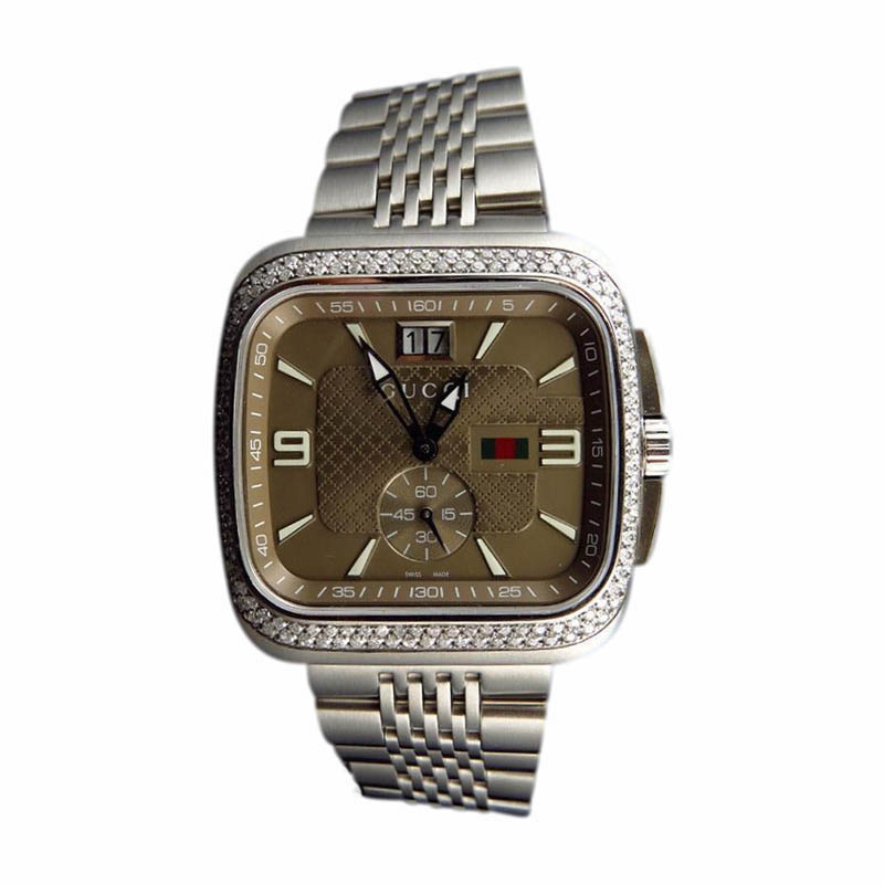 "Image of ""Gucci Ya131301 Coupe 40mm Square Stainless Steel 2.0 Ct Diamond Watch"""