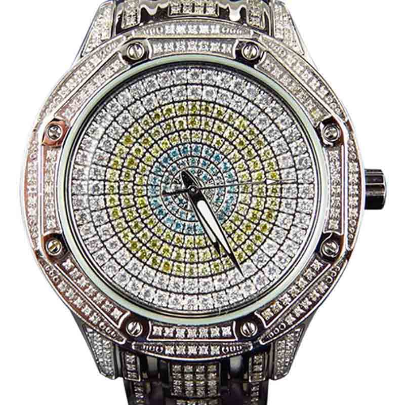 """Image of """"KC Techno Com Colored Stones Dial Stainless Steel 5.0ct. Diamond Dress"""""""