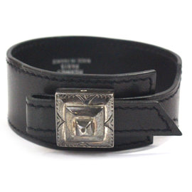 Hermes Cuff in Black Leather Etched Palladium Buckle Adjustable