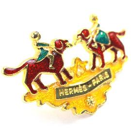 Hermes Brooch Red Green Yellow Enamel Girls & Dogs