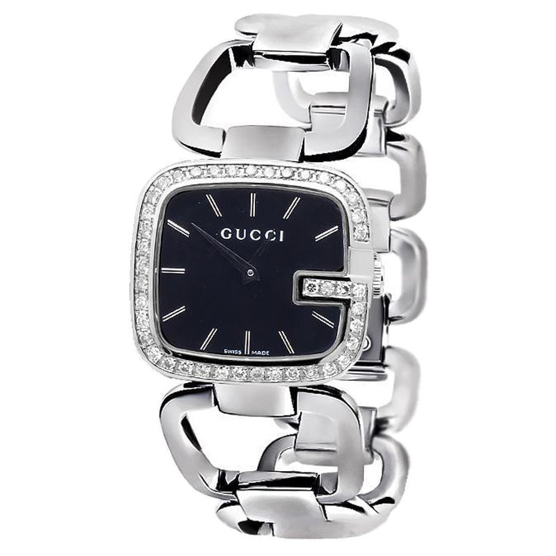 "Image of ""G-Gucci Ya125407 Black Dial 2CT Genuine Diamond Stainless Steel Swiss"""