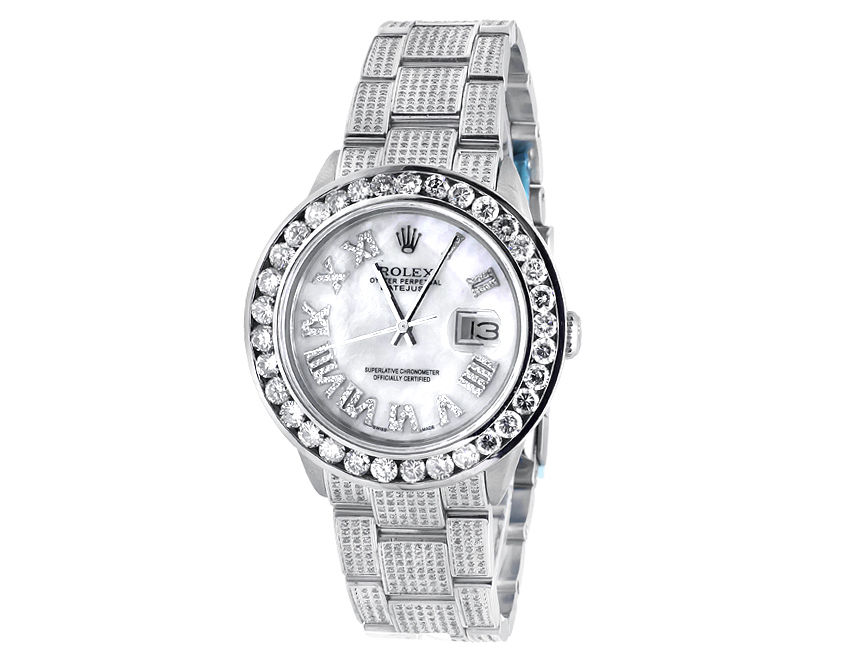 "Image of ""Rolex Datejust Oyster 10.5 Ct Diamond Dial Stainless Steel Mens 36 mm"""