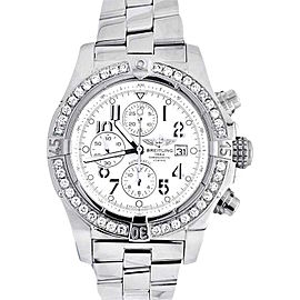 Breitling A13370 Super Avenger White Dial Stainless Steel Diamonds Watch