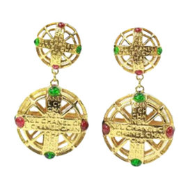 Chanel Gold Tone Pink and Green Stones Drop Signature Earrings
