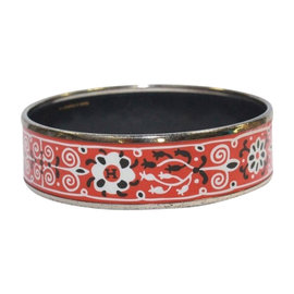 Hermes Red Black White Floral Palladium Bangle Bracelet