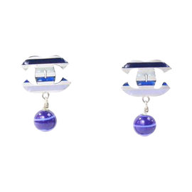 Chanel Navy Enamel & Silver Signature Glass Bead Dangle Clip On Earrings