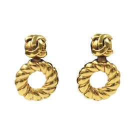 Chanel Gold Signature With Hoop Interlocking CC Clip-on Earrings