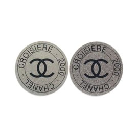 Chanel Silver Button Signature Clip On Earrings
