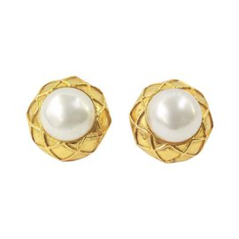 Chanel Gold Button With Pearl Centers Clip On Earrings