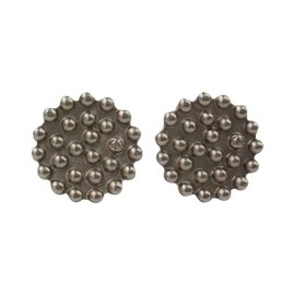 Chanel Silver Button CC Signature Logo Earrings