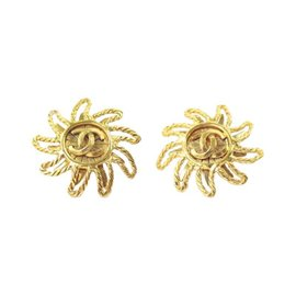 Chanel Gold Button Signature Sunshine Shape Clip On Earrings