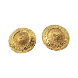 Chanel Gold Button Signature Clip On Earrings