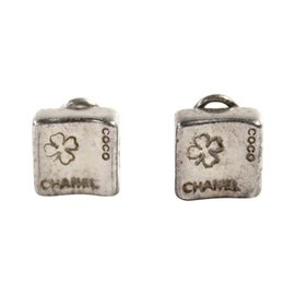Chanel Sterling Silver 4 Leaf Clover Coco Square Clip On Earrings