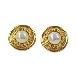 Chanel Gold Button With Pearl Centers. Clip On. Earrings