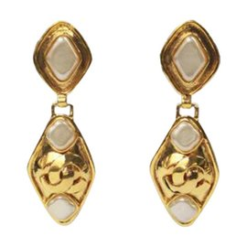 Chanel Gold Signature Drop Bezel Set Pearls Earrings