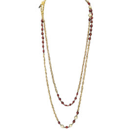 Chanel Sautoire Gold Rope Chain Ruby Red Gripoix Necklace