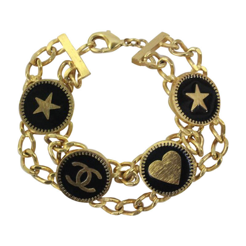 """Image of """"Chanel Gold Black Enamel With Hearts Stars CC Logo Double Chain"""""""