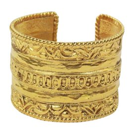 Chanel Ornate Gold Cuff Signature Bracelet