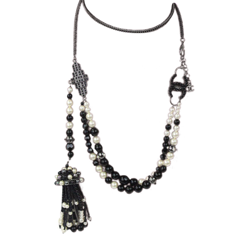 "Image of ""Chanel Necklace Gunmetal Silver Blak Beads Faux Pearl Tassel Charms"""