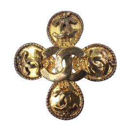 Chanel Gold CC Signature Logo Brooch