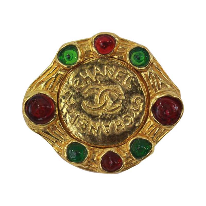 "Image of ""Chanel Gold Tone Cranberry and Green Gripoix Glass Brooch"""