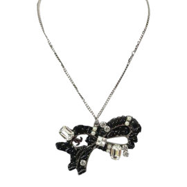 Chanel Silver Black & Clear Crystal Bow CC Signature Necklace