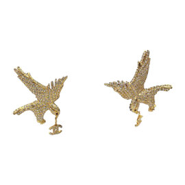 Chanel Gold & Crystal Eagle With CC Charms Earrings