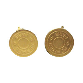 Hermes Gold Button Signature Clip On Earrings