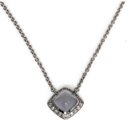 Fred Paris Pain de Sucre 18K White Gold Chalcedony & Diamond Chain Pendant