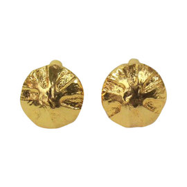 Chanel Gold Tone Sculptured Button Earrings