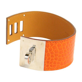 Hermes Palladium Hardware Alligator Wide Leather Cuff Bracelet