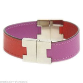 Hermes Pink and Red Leather Palladium Hardware Cuff Bracelet