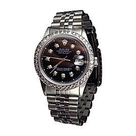 Rolex Datejust Oyster Quickset Stainless Steel 3.0 Ct Diamond Mens Watch 36 mm