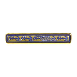 Hermes Gold Tone Blue Anchors Bar Pin Brooch
