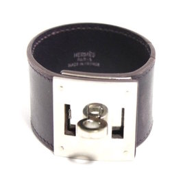 Hermes Brown Leather Cuff Palladium Kelly Lock Bracelet